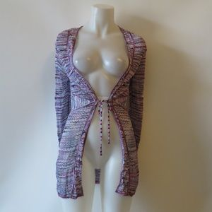 DANA BUCHMAN MULTI-COLORED CARDIGAN KNIT TOP S *